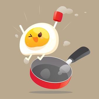 Het gelukkige gebraden ei ontwaakt in de ochtend