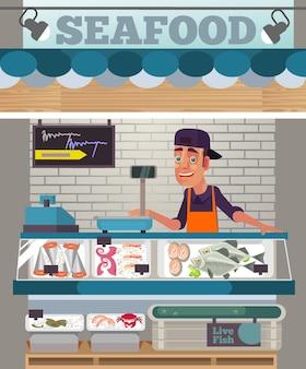 Het gelukkige glimlachende karakter van de verkoopman verkoopt het concept van de zeevruchtenvoedselmarkt