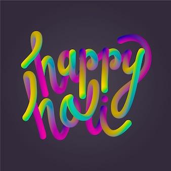 Het gelukkige holi van letters voorzien met zwarte achtergrond