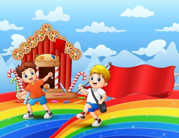 Het gelukkige jongen spelen in een zoete landillustratie
