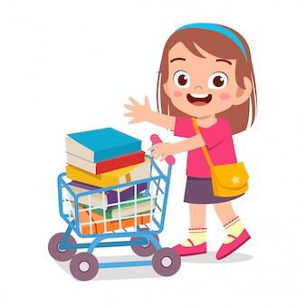 Het gelukkige leuke jong geitjemeisje brengt boek naar school