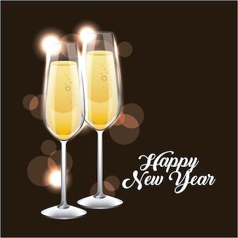 Het gelukkige nieuwe jaarpaar van champagneglas juicht toe