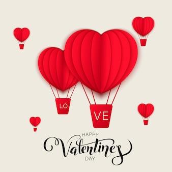 Het gelukkige ontwerp van de de groetenkaart van de valentijnskaartendag met document sneed het rode de hete luchtballons van de hartvorm vliegen en harten in wit. illustratie.