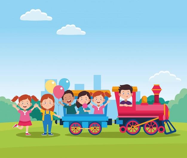 Het gelukkige ontwerp van de kinderendag met trein met beeldverhaal gelukkige jonge geitjes in de wagens