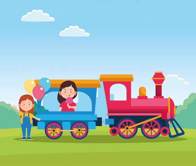 Het gelukkige ontwerp van de kinderendag met trein met beeldverhaal gelukkige meisjes