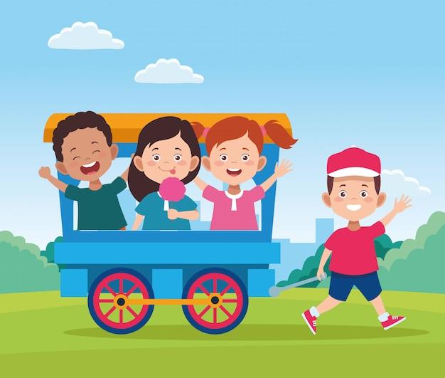 Het gelukkige ontwerp van de kinderendag met treinwagen met beeldverhaal gelukkige jonge geitjes
