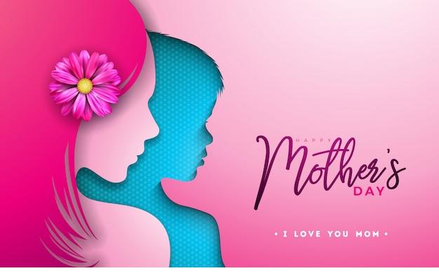 Het gelukkige ontwerp van de moedersdag met vrouw en kindgezichtssilhouet
