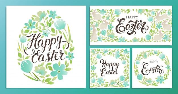 Het gelukkige pasen-tekst van letters voorzien met bloemenei op witte achtergrond