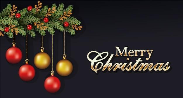 Het gelukkige vrolijke kerstmis van letters voorzien met doorbladert en ballen