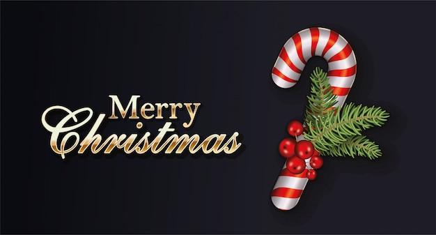 Het gelukkige vrolijke kerstmis van letters voorzien met doorbladert en zoet riet