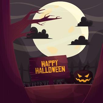 Het gelukkige welkome teken van halloween onder maanlicht