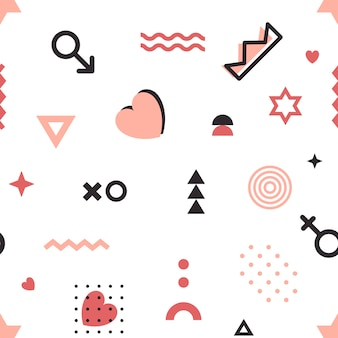 Het geometrische patroon van valentijnskaarten in de stijl van memphis.