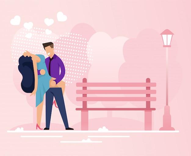Het gepassioneerde paar brengt tijd door in park datevector