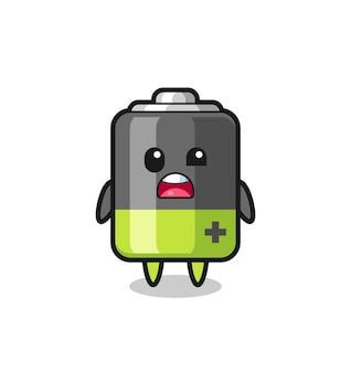 Het geschokte gezicht van de schattige batterijmascotte, schattig stijlontwerp voor t-shirt, sticker, logo-element