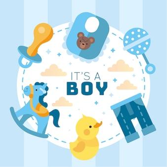 Het geslacht van de babydouche onthult jongen