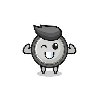 Het gespierde knoopcelkarakter poseert met zijn spieren, schattig stijlontwerp voor t-shirt, sticker, logo-element