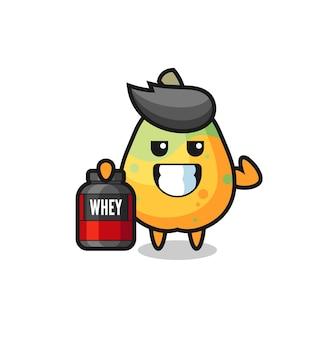 Het gespierde papaya-personage houdt een eiwitsupplement vast, een schattig stijlontwerp voor een t-shirt, sticker, logo-element