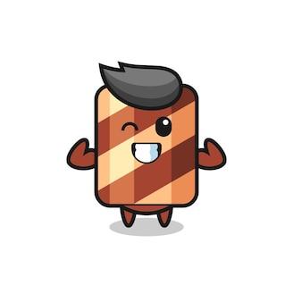 Het gespierde wafelrolkarakter poseert met zijn spieren, schattig stijlontwerp voor t-shirt, sticker, logo-element