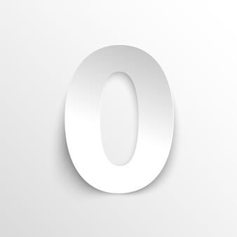 Het getal 0 in papierstijl. vector illustratie