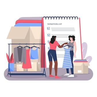 Het getekende concept van de kledingdonatie geïllustreerd