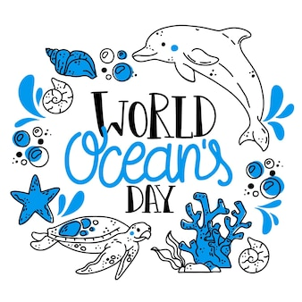Het getrokken ontwerp van de de dagillustratie van wereldoceanen