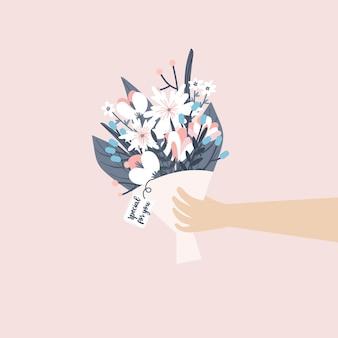Het geven van roze boeketbloem