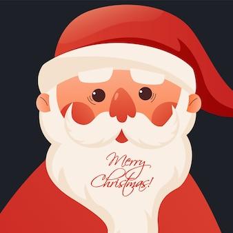 Het gezicht van de kerstman wenst een vrolijk kerstfeest