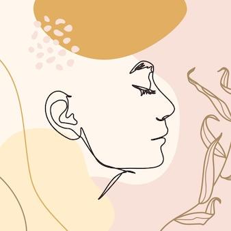 Het gezicht van één lijnvrouw. doorlopende lijn vrouwelijk portret in profiel met geometrische vormen en bloemenelementen in een moderne minimalistische stijl. vectorillustratie voor kunst aan de muur, afdrukken op t-shirts, covers