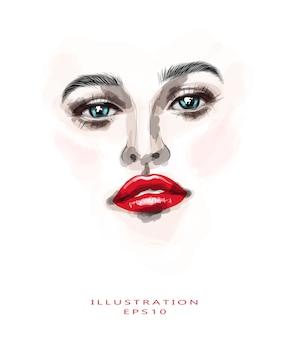 Het gezicht van een vrouw met mooie ogen en felrode lippen