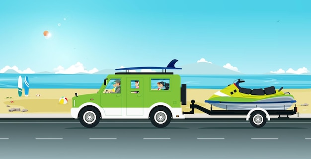 Het gezin rijdt een zomertoer met een jetski-riksja