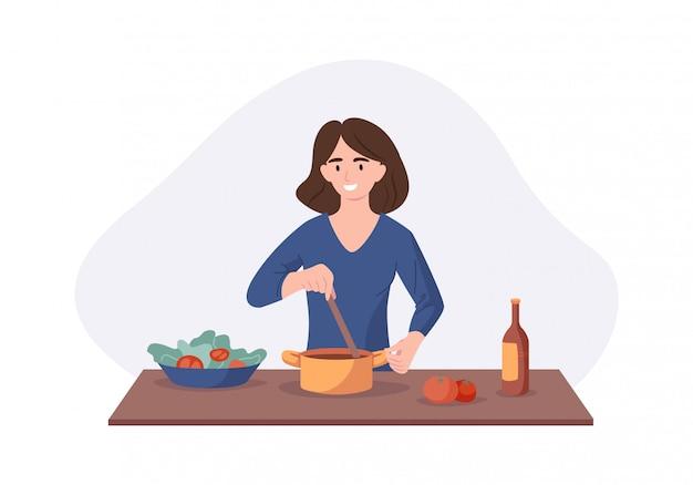 Het glimlachen vrouw het koken op keukenlijst. vrouw kookte soep en proeft het met een lepel. illustratie huis concept zelfgemaakte maaltijden bereiden voor het diner