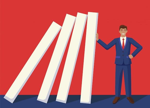 Het glimlachen zakenmanteinde dalende domino-effect grafische illustratie