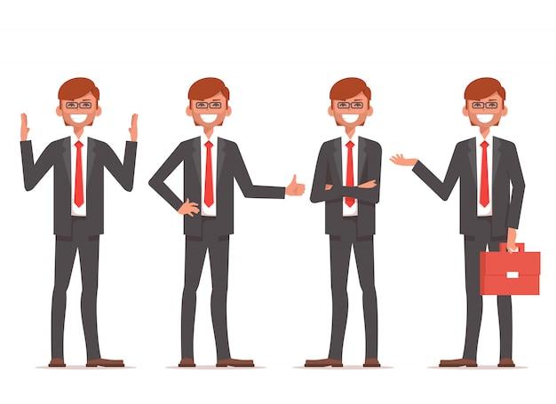 Het glimlachen zakenmantribune in verschillende posities