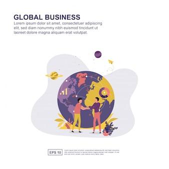 Het globale vlakke ontwerp van de bedrijfsconcepten vectorillustratie voor presentatie.