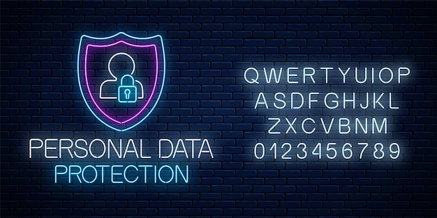 Het gloeiende neonteken van de persoonlijke gegevensbescherming met alfabet op donkere bakstenen muurachtergrond. internet cyber security symbool met schild, man silhouet en hangslot. vector illustratie.