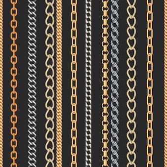Het gouden en zilveren naadloze patroon van kettingsjuwelen.