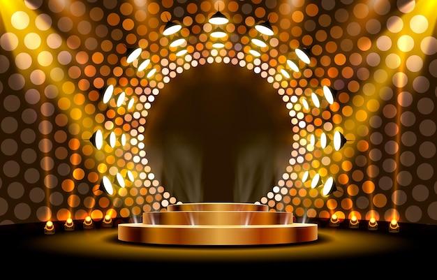 Het gouden podium is winnaar of populair op de gouden achtergrond
