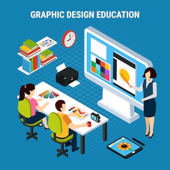 Het grafische proces van het ontwerponderwijs in klaslokaal met twee isometrische vectorillustratie van twee studenten