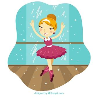 Het grappige en mooie ballerina op het podium
