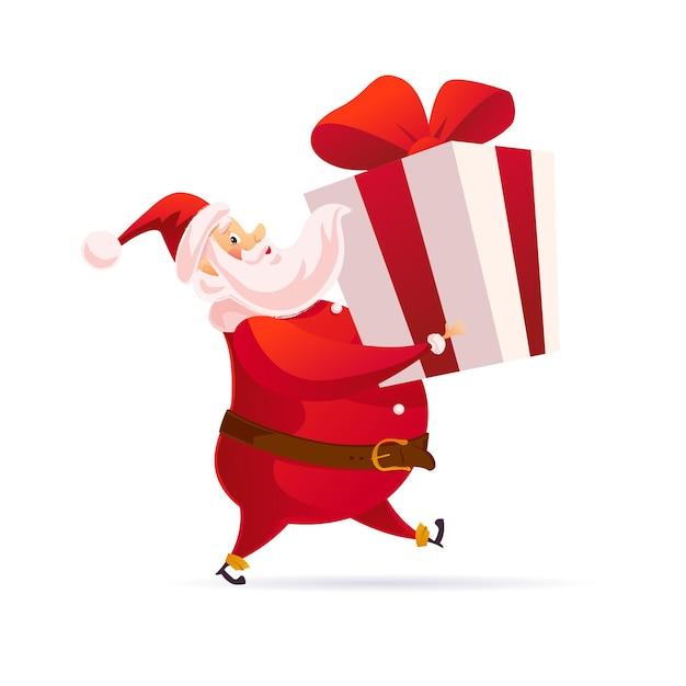 Het grappige karakter van de kerstman draagt grote geïsoleerde giftdoos. vectorillustratie platte cartoon. zijaanzicht. voor tags, banners, kaarten, posters, verkoop adverteren, web.