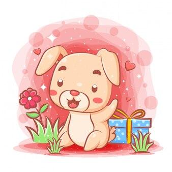 Het grappige konijn dat gelukkig voelt krijgt van giften