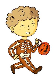 Het grappige kostuum van halloween van het skeletjongenkind op wit