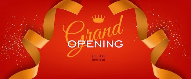 Het grote openingsceremonie feestelijke banner van letters voorzien met kroon