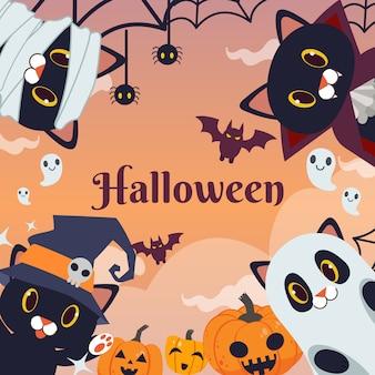 Het halloween-feest voor vriendengroep zwarte katten draagt fantasiekostuum.