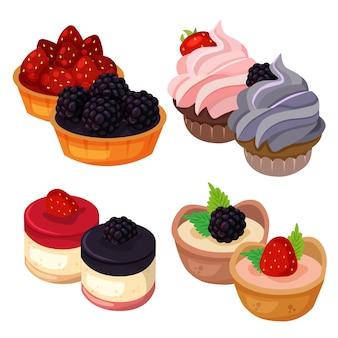 Het heerlijke die dessert van het voedsel door aardbei en braambessenelement vastgestelde inzameling wordt gemaakt