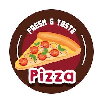 Het heerlijke italiaanse ontwerp van de pizza snelle voedsel vectorillustratie