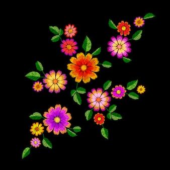 Het heldere kleurrijke flard van het bloemborduurwerk, manierdecoratie