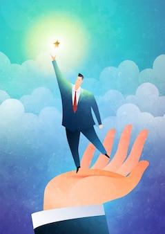 Het helpen van hand bedrijfsconceptenillustratie met de hand heft de zakenman op om naar de sterren te reiken.