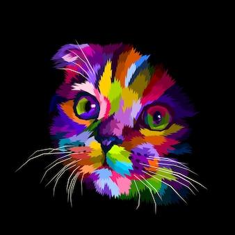 Het hoofd van de schotse vouwkat is kleurrijk in het donker