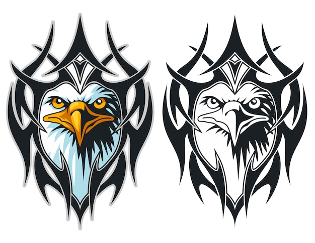Het hoofd van een adelaar met tribal tattoo sport logo mascotte